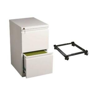 2 Piece Mobile File Cabinet In White And Black Adjustable File Caddy