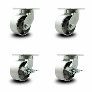 Scc 6 Extra Heavy Duty Semi Steel Caster Set 2 Swivel W brake 2 Swivel set 4