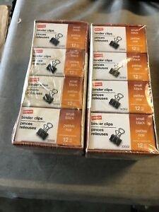 2 Boxes Of Staples Binder Clips Small Black 12 Pk 144 Clips 32002