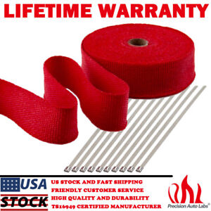 2 X 50ft Exhaust Header Fiberglass Heat Wrap Tape W 10 Steel Ties Kit Red
