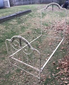 French Ornate Antique Iron Brass Twin Bed Frame Side Rails 1800 S White