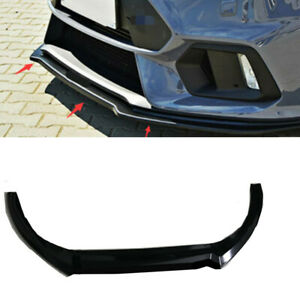 Glossy Black Front Bumper Lip Protector Cover 3pc For Ford Focus Rs St 2016 2018