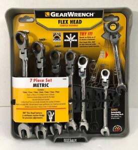 Gearwrench 7 Pc Metric Full Polish Ratcheting Flex Head Combination Wrench New