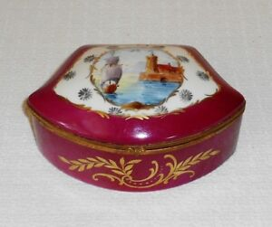 Antique French Porcelain Jewelry Casket Burgundy Hand Painted Ship Castle Scene