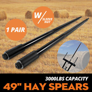 Two 49 3000 Lbs Hay Spears Nut Bale Spike Fork Square Nut Included 1 3 4 Wide