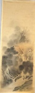 Korean Original Painting Mountain Landscape And A Straw House