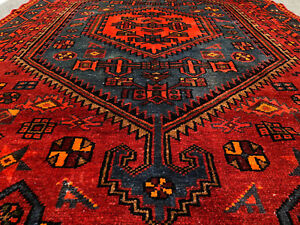 5x7 Antique Persian Rug Caucasian Hand Knotted Wool Area Rugs Red Blue Woven 4x7
