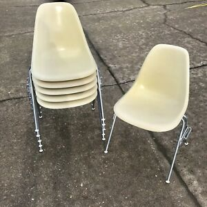 Herman Miller Eames Fiberglass Sidelock Stackable Shell Chair Set Of 6