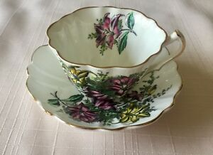 Vintage Victoria Bone China Tea Cup And Saucer Flowers Made In England