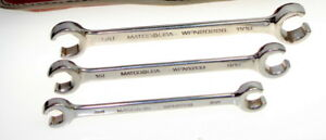 Matco Tools 3 piece Sae Double End Flare Nut Line Wrench Set W Case 3 8 11 16