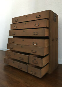 Antique 1912 1926 Taishu Tansu Chest Of Drawers Wooden Japanese Furniture