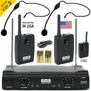 Professional Wireless Microphone System Dual Headset 2 x Mic Cordless Receiver $45.99