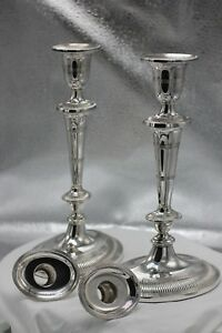 Vintage 1978 Franklin Mint Dumbarton House Silver Plated Candlesticks