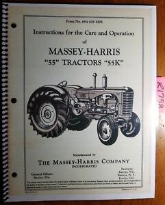 Massey Harris 55 55k Tractor Owner s Operator s Care Manual 694 006 M95 2 53