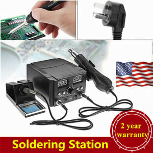 2 In 1 Lcd Soldering Iron Rework Stations Hot Air Desoldering Heater Device Kit