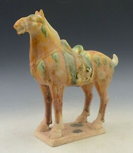 Chinese Old Porcelain Hand Painted Hand Made Horse Statue