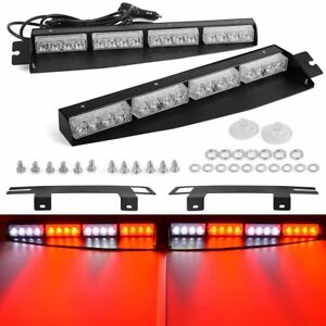 34 32led Emergency Warning Strobe Visor Mount Deck Dash Light Bar Red White
