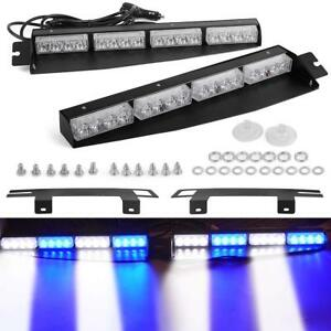 34 32led Emergency Warning Strobe Visor Mount Deck Dash Light Bar Blue White