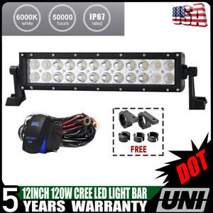 Dot 12inch 72w Super Slim Dual Row Cree Led Light Bar Cree Combo Beam Driving