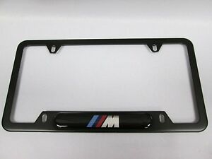 Bmw M Logo License Tag Plate Frame Black Stainless Steel Genuine Oem 82120010404