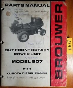 Brouwer 807 Out Front Rotary Power Unit With Kubota Engine Parts Catalog Manual