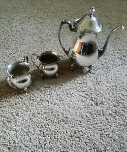 Antique Silver Plated Tea Coffee 3 Piece Set Excellent Condition