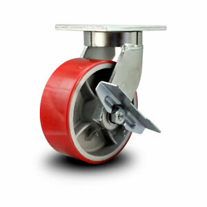 Scc 8 Hd Red Poly On Metal Wheel Swivel Caster W brake Bolton Swivel Lock