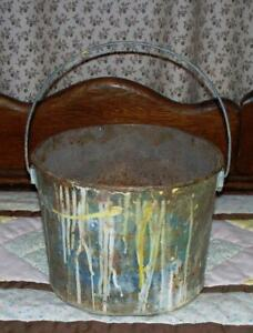 Vintage Metal Paint Mixing Can Bucket Pink Blue Yellow White Paint Drips Patina
