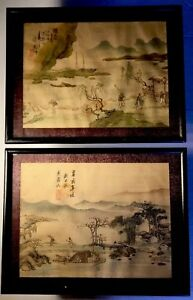 Pair Antique Vintage Chinese Painting On Silk Signed Fishing Scenes Framed