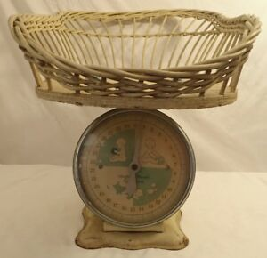 Vintage Baby Scale Light Blue White Dial Face With Wicker Weave Baby Basket