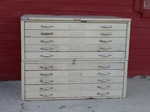 Vintage Hamilton Flat File Map Plan Blueprint Cabinet 2 Sections And Top