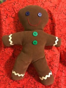 Primitive Handmade Christmas Raggedy Gingerbread Doll In Holiday Dress Folk Art