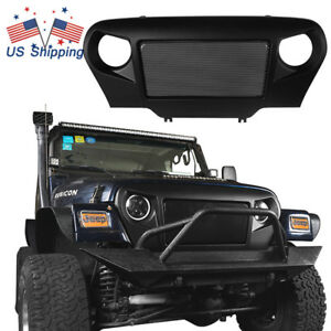 Abs Front Grille W Steel Mesh Insert Trim Cover For Jeep Wrangler Tj 1997 2006