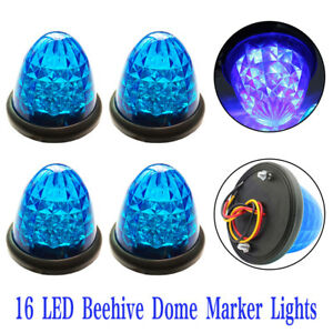4x Blue Beehive Side Marker Lights Grommet 16 Led Cab Sleeper Light Trailer 12v