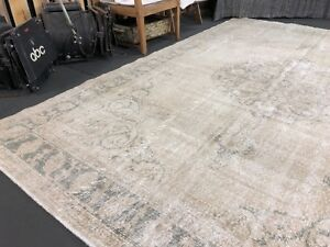 Oushak Carpet 7 X 11 Vintage Turkish Forest Green And Taupe Beige Rug Farmhouse