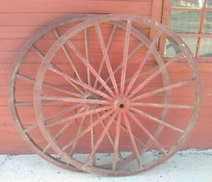 Antique Vintage Primitive Country Wagon Wheel Buggy Metal Wood 48 5