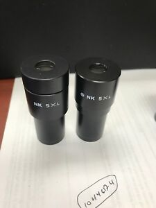 Lot Of Two Olympus Microscope Photo Eyepiece Nk 5 X L