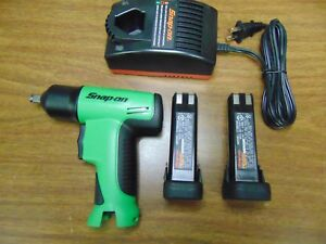 New Green Snap On Tools 3 8 Cordless Impact Socket Wrench Charger 2 Batteries