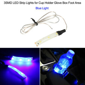 3smd Led Strip Lights For Cup Holder Glove Box Foot Area Blue Light Y8p4