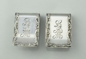 Set Of 2 Kirk Stieff Sterling Silver Scroll Repousse Napkin Rings Clip Mono