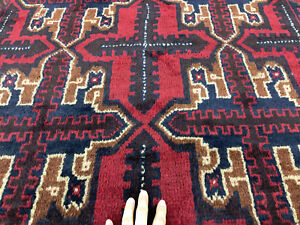 4x6 Red Hand Knotted Persian Rug Wool Oriental Blue Geometric Caucasian Rugs 3x6