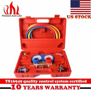 A c R134a Manifold Gauge Set Refrigeration Kit Couplers Adapters Hose With Case