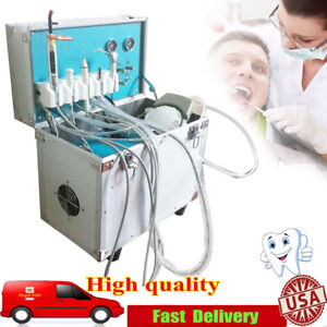 Portable Dental Unit System Mobile Delivery Rolling Case Air Compressor 2 Holes