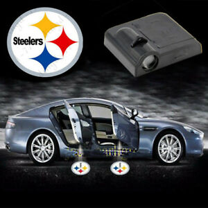 2x Wireless Car Door Lights Pittsburgh Steelers Logo Shadow Laser Projector Lamp