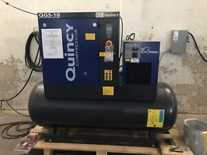 10 Hp Quincy Qgs 10 Rotary Screw Air Compressor With Integrated Dryer