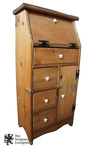 40 Primitive Rustic Country Pine Narrow Secretary Desk 4 Drawers Cabinet