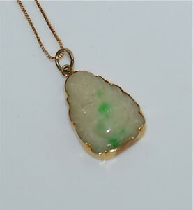 Antique Chinese Carved Jadeite Buddha 14 Kt Gold Pendant On Chain