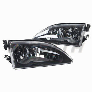 For 1994 1998 Ford Mustang Cobra Headlights Black Housing Clear Lens Pair Set