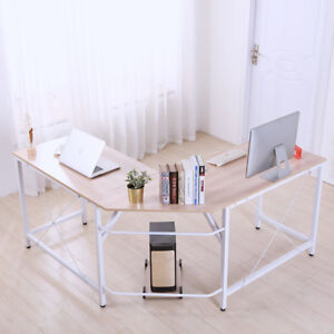 L shaped Corner Computer Desk Home Office Table Pc Laptop Study Workstation Wood