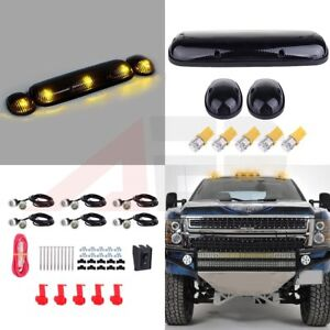 3x Smoke Top Roof Cab Clearance Light T10 Amber Led Grille Lamp For Chevy Gmc